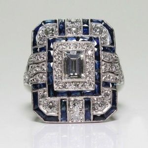 Jewelry - Bling Silver White Topaz & Blue Sapphire Ring